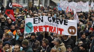 Manifestación contra la reforma de las pensiones el 4 de enero de 2020, en París.