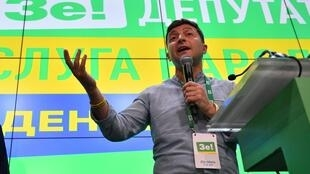 Ukrainian President Volodymyr Zelensky promised to end the war, secure return of prisoners and victory over the corruption. Here, giving a speech at his Servant of the People party's election headquarters in Kiev on July 21