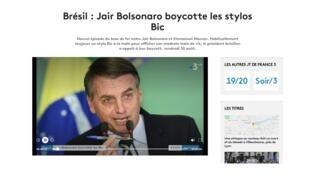 Tổng thống Brazil tẩy chay bút bi Bic, một thương hiệu Pháp. Ảnh chụp màn hình đài France 3.