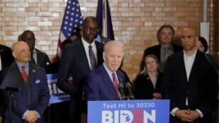 Le candidat démocrate à la présidentielle américaine Joe Biden en campagne à Flint, dans le Michigan, le 9 mars 2020.