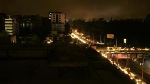 La sécheresse avait déjà privé l'Equateur de courant le 15 janvier 2009, comme ici à Quito.
