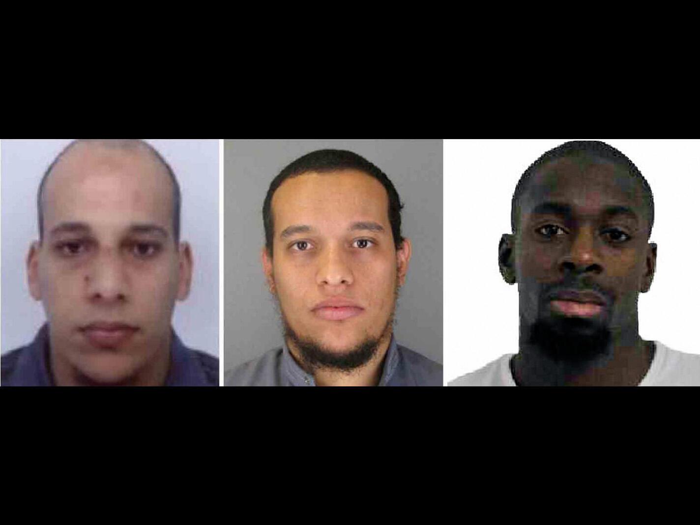 از چپ به راست: شریف و سعید کواچی و احمدی کولیبالی، ٣ تروریستی که در پایتخت فرانسه ١٧ نفر را به قتل رساندند وسپس توسط پلیس فرانسه کشته شدند.