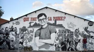 Mural em homenagem a Steve Maia Caniço, jovem encontrado morto no rio Loire.