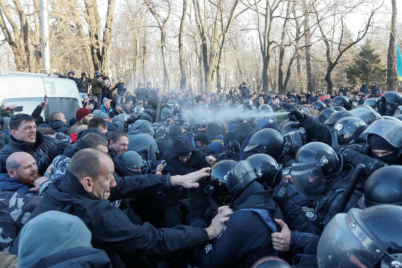 В Киеве в ходе столкновения протестующих с полицией были задержаны 26 человек