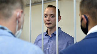 El experiodista acusado de traición  Ivan Safronov, durante una audiencia judicial en Moscú el 7 de julio de 2020