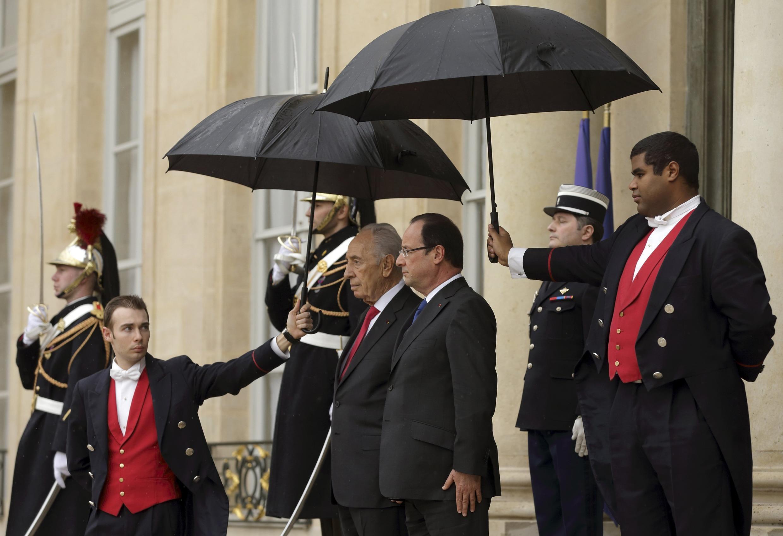 Президент Израиля Шимон Перес и президент Франции Франсуа Олланд Париж 8 марта 2013
