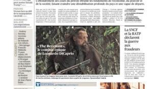 """صفحه اول روزنامه """"فیگارو"""" امروز ٢٤ فوریه ٢٠١٦"""