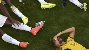 O cansaço dos jogadores brasileiros no final da prorrogação