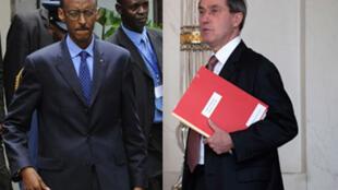 Le chef de l'Etat rwandais, Paul Kagamé (à gauche) et Claude Guéant.
