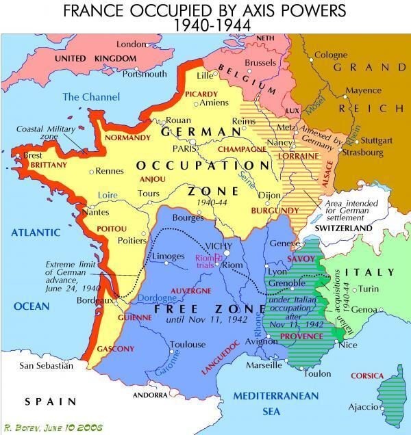 Under the 1940 armistice, France was cut into two zones