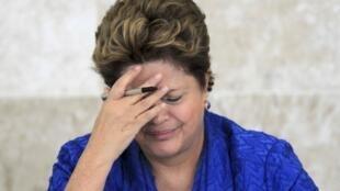 A presidente do Brasil, Dilma Rousseff, na reunião do Fórum Brasileiro de Mudanças Climáticas. 5 de Junho de 2013
