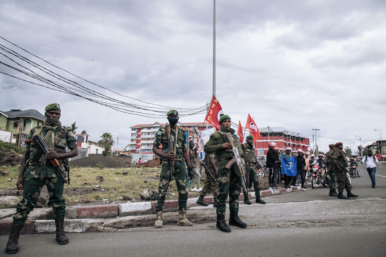 Soldados congoleños cerca de la sede del gobernador de Kivu del Norte, en Goma, el 10 de mayo de 2021