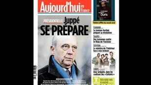 """Destaque para política francesa no jornal Aujourd'hui en France: """"Plano J"""", uma referência a Alain Juppé que poderia substituir François Fillon como candidato da direita francesa à presidência."""