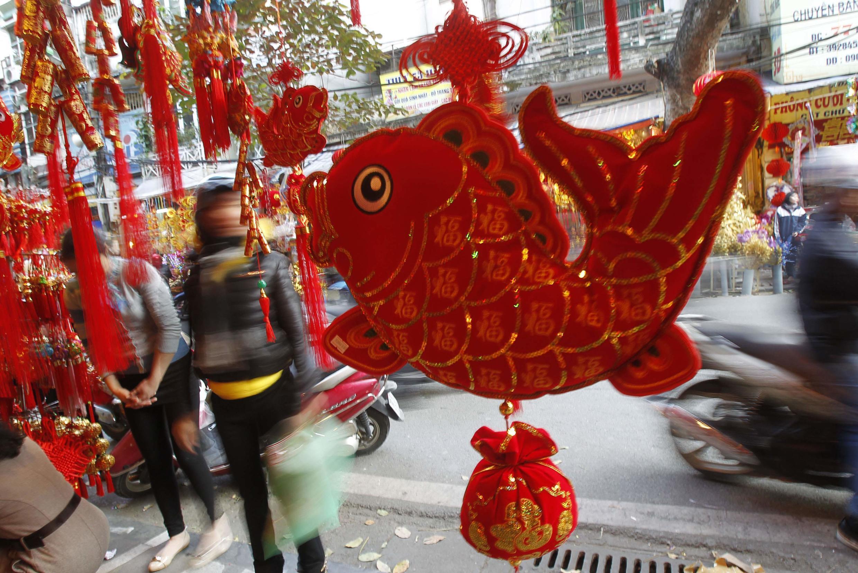Cảnh phố Hà Nội trước Tết. Ảnh chụp  21/01/ 2014.