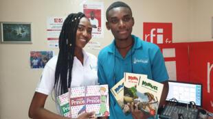 Jemyma et Michel Valéry dans les locaux de RFI à Port-au-Prince.