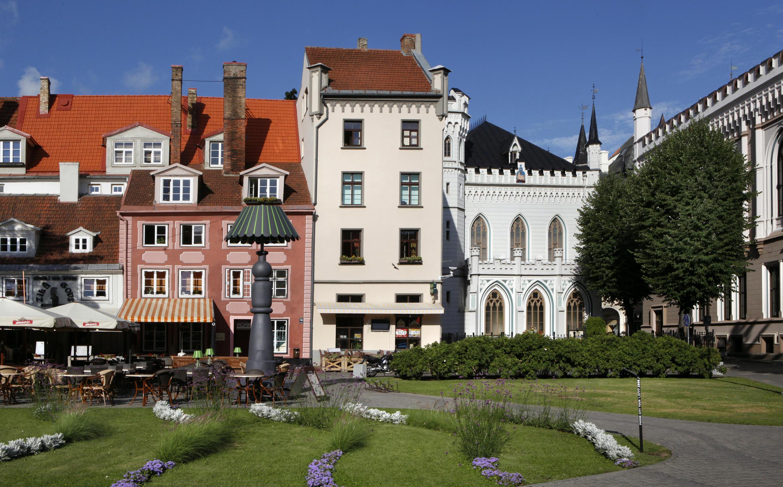 Vue générale de Livu Square, Riga, Lettonie.