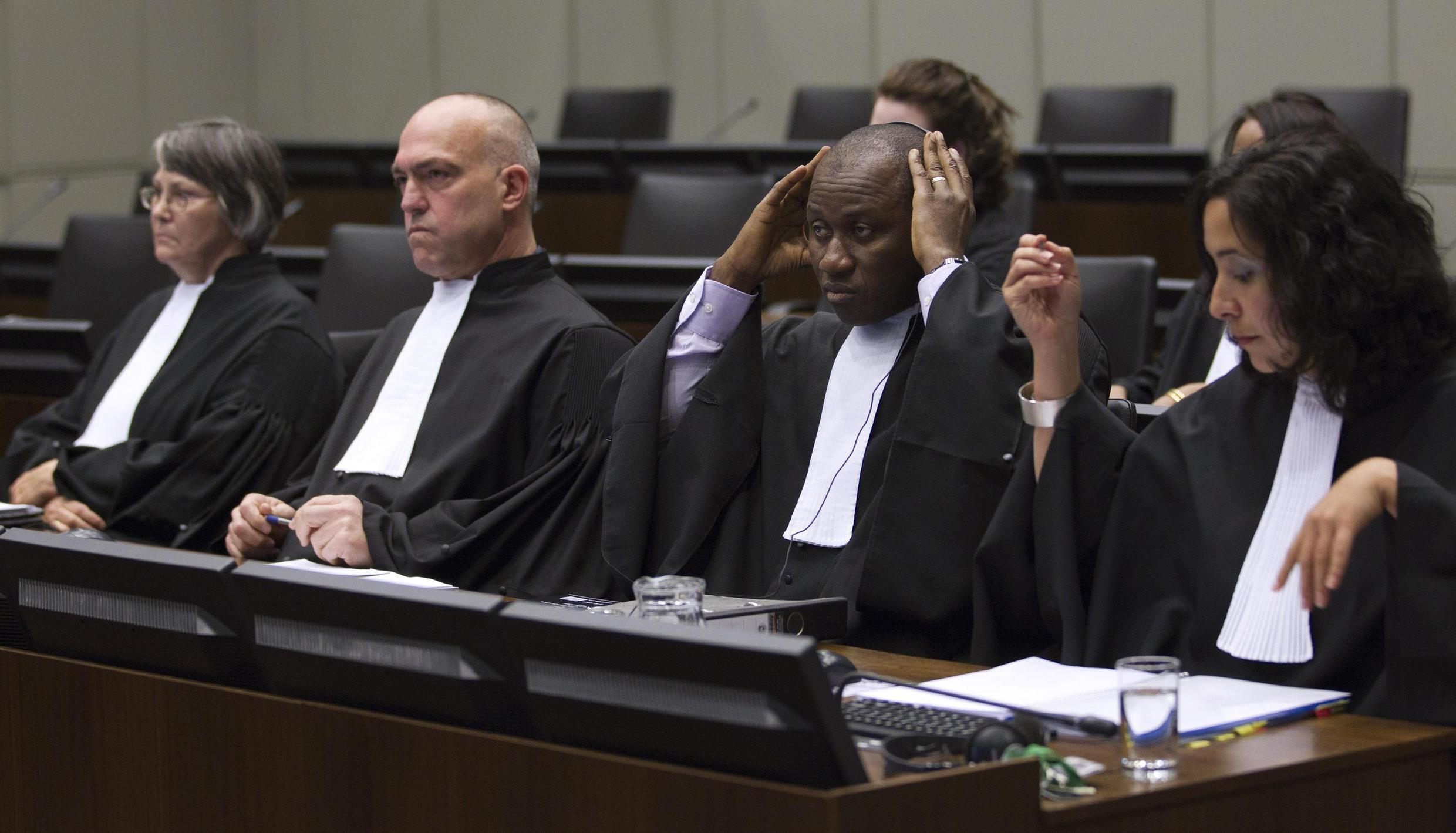 Prosecutors waiting for the verdict against former Liberian President Charles Taylor, The Hague, 26 April, 2012