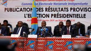 Tume ya Uchaguzi CENI ikitangaza matokeo ya uchaguzi wa urais, Kinshasa, tarehe 10 Januari 2019.