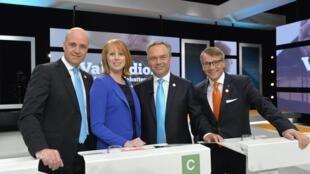 Các lãnh đạo đảng phái chính của Thụy Điển tham gia ứng cử trước khi tranh luận trên truyền hình ngày 12/9/2014.