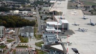 Vue de la base aérienne américaine de Rammstein en Allemagne.