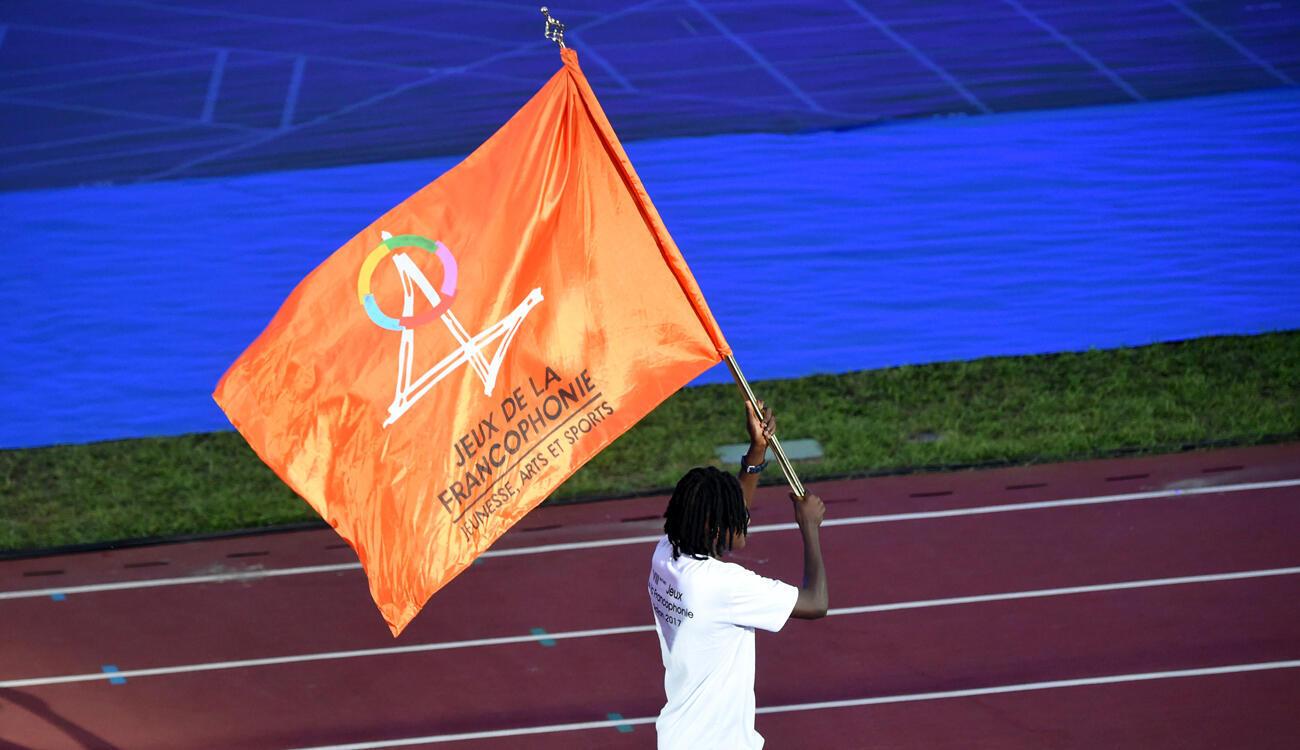 Lors de la cérémonie d'ouverture des Jeux de la Francophonie 2017, à Abidjan.
