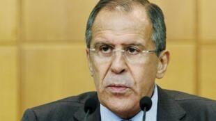 O ministro russo das Relações Exteriores, Serguei Lavrov, durante coletiva de imprensa nesta segunda-feira, em Moscou.