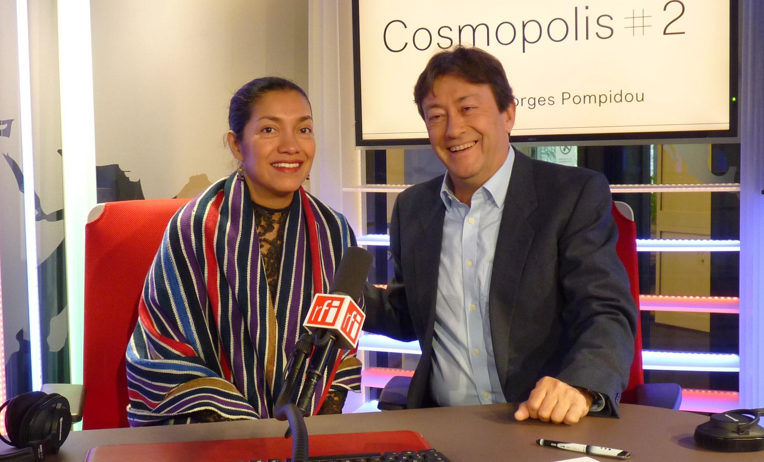 Sandra Monterroso con Jordi Batallé en el estudio 151 de RFI