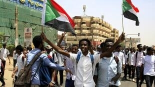 Sudanese students demonstrating in Khartoum, 30 July 2019