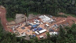 An aerial view of the Mipaya gas exploration camp, run by Pluspetrol, which is part of the Camisea project in the Amazon jungle near Cuzco, 470 kilometers east of Lima, on May 18, 2011.