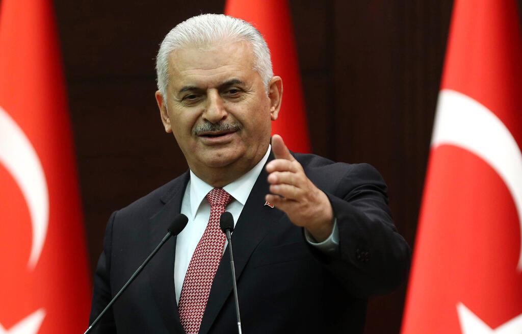 O primeiro-ministro turco, Binali Yildrim, durante coletiva a imprensa nesta segunda-feira 27/06/16.