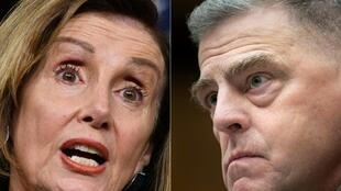 La presidenta de la Cámara de Representantes, Nancy Pelosi, y el jefe del Estado Mayor Conjunto, Mark Milley