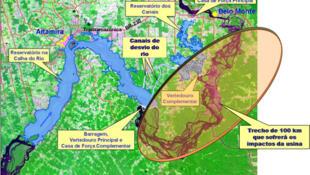 La extensa área que cubren las obras de la central hidroeléctrica de Belo Monte, a orillas del río Xingú, en la zona amazónica de Brasil.