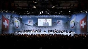 President Nicolas Sarkozy speaks at the Montreux summit