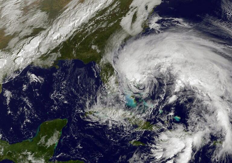 Imagem captada via satélite do furacão Sandy, que atingiu o Caribe e a costa leste dos EStados Unidos em agosto de 2012.