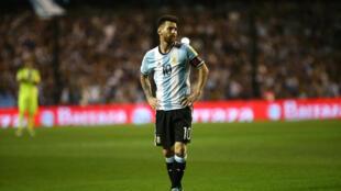 Lionel Messi tras el empate a 0 con Perú en la Bombonera de Buenos Aires.