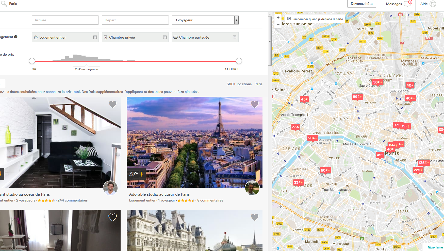 En l'espace de deux ans, le site Airbnb a multiplié par dix le nombre de ses offres proposées pour Paris.