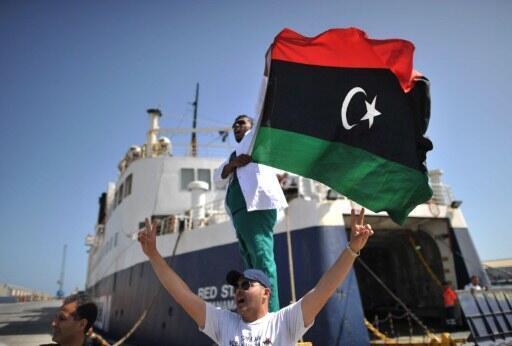 Bandari ya Misrata, Dactari wa Libya akipandisha bendera baada ya kuwasili meli iliosheheni madawa
