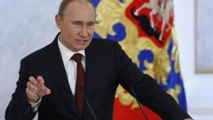 Tổng thống Nga Vladimir Putin phát biểu tại điện Kremli ngày 12/12/2012.