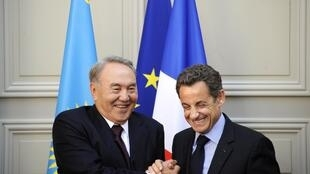 French President Nicolas Sarkozy with Nursultan Nazarbayev