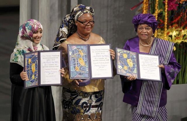 Les 3 Prix Nobel de la Paix 2011: Tawakkol Karman, Leymah Gbowee et Ellen Johnson Sirleaf.