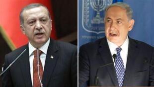 رجب طیب اردوغان، رئیس جمهوری ترکیه و بنیامین نتانیاهو، نخست وزیر اسرائیل