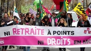 Protesters against pension reforms in Paris recently