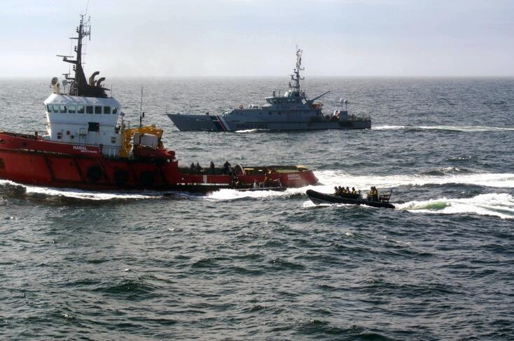 The tugboat was boarded by a team from the Royal Navy's HMS Somerset and Border Force cutter Valiant.