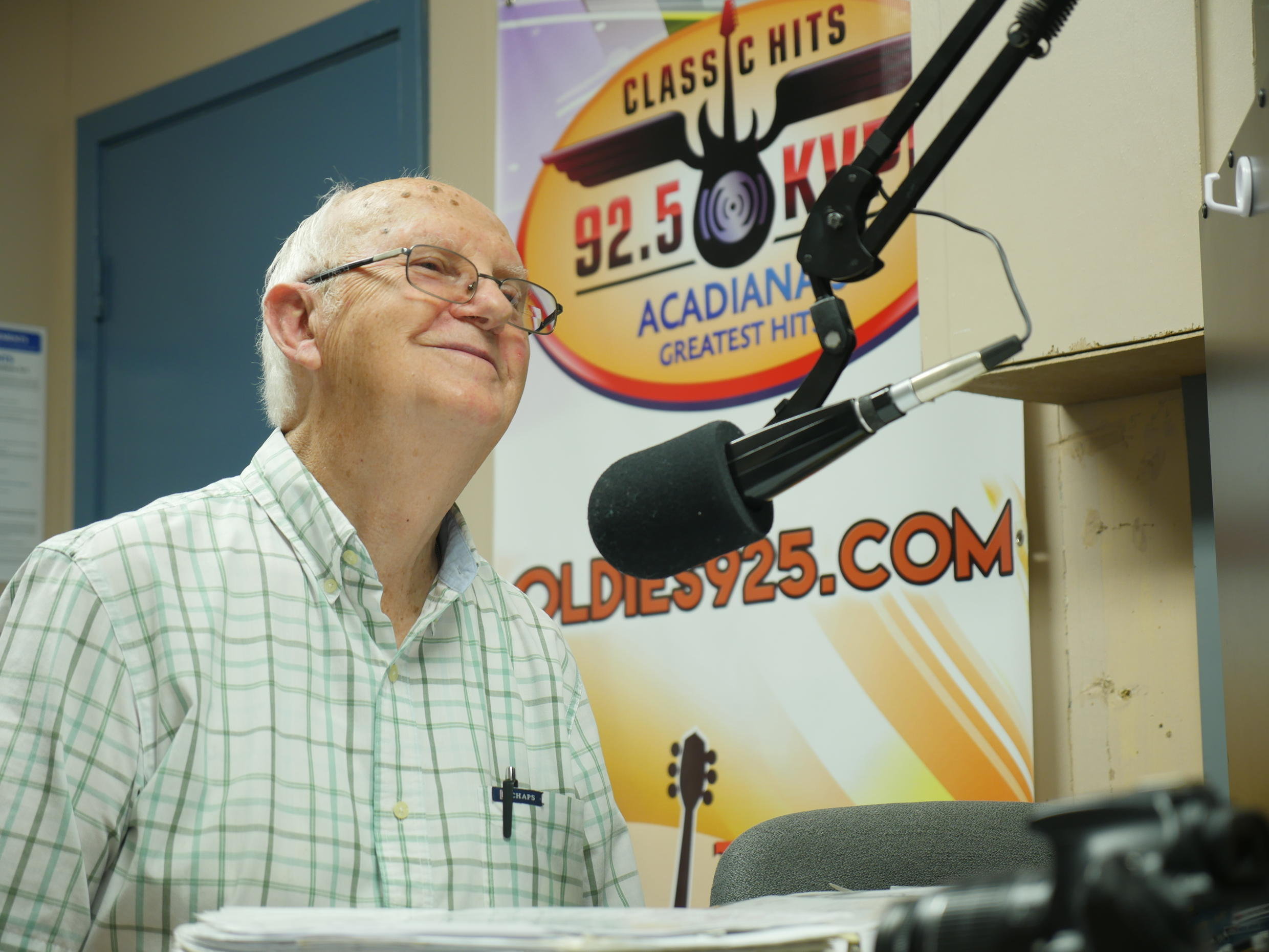 """Jim Soileau, a proud Cajun, is co-host of the radio show """"La Tasse de Café"""", which is broadcast in Franglais (French and English) on KVPI from the town of Villeplatte, Louisiana. He's been on the air for more than 60 years!"""
