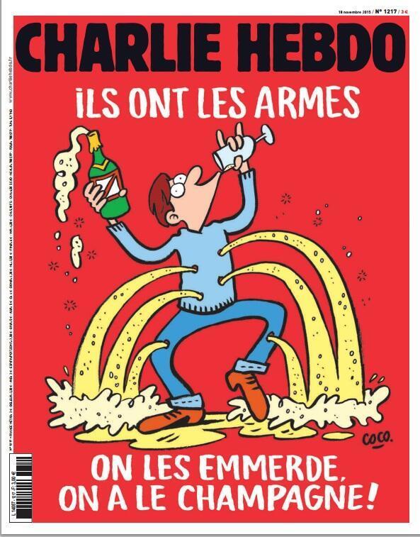 Обложка сатирической газеты «Шарли Эбдо»: «Да пошли они! У них оружие – у нас шампанское!».