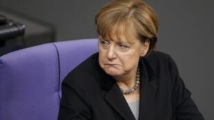 La chancelière Angela Merkel au Bundestag, la Chambre basse du Parlement allemand, à Berlin, le 13 janvier 2016.