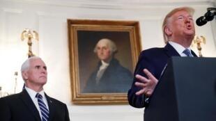 Le président américain Donald Trump et son numéro deux Mike Pence, le 23 octobre 2019 à Washington.