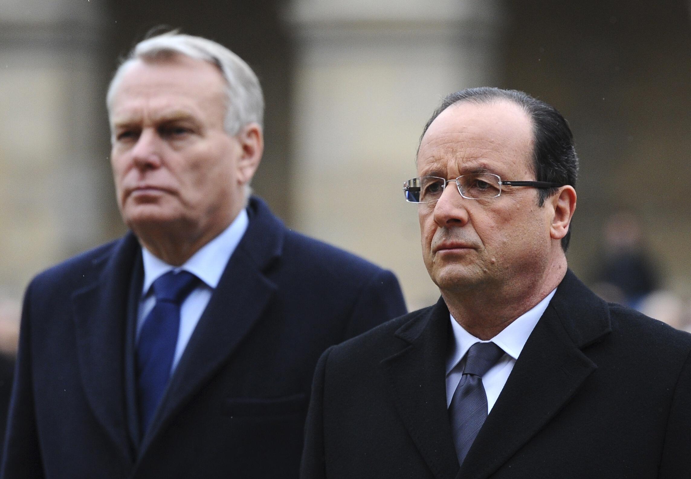 Президент и премьер-министр Франции в Париже 7 марта 2013.