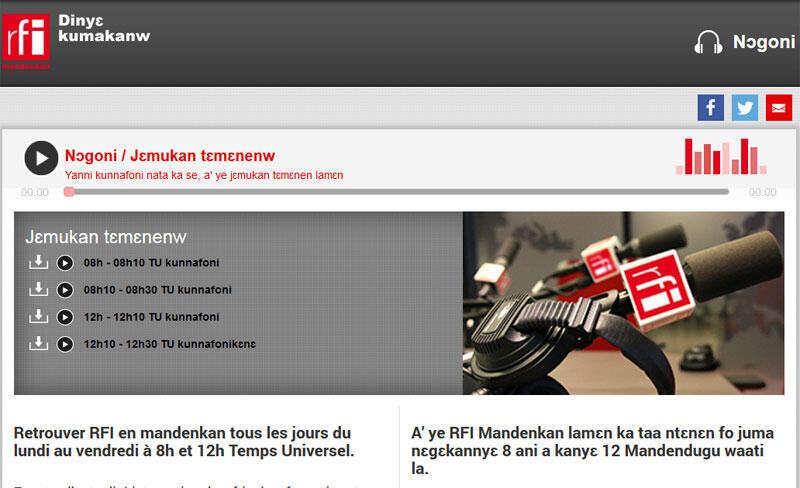 Page de garde du site de RFI en langue Mandingue.