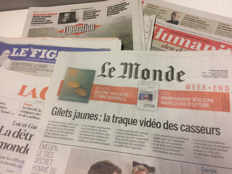 Primeiras páginas dos jornais franceses de 01 de fevereiro de 2019